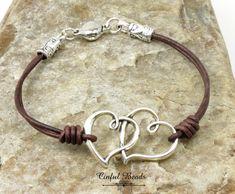 Double Heart Leather Bracelet - Silver Boho Leather Wrap Bracelet - Minimalist Leather Bracelet For Women - Hippie Leather Heart Bracelet by CinfulBeadCreations on Etsy