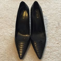 "Ralph Lauren Black Croc Pointed Pumps Size 10B Gorgeous & classic black pumps with a little edge.  Great pre-owned condition.  Leather upper.  Heel measures 4"". Ralph Lauren Shoes Heels"