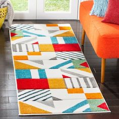 Shop Safavieh Hollywood Tatianna Mid-Century Modern Abstract Rug - On Sale - Overstock - 13267955 - x Runner - Ivory/Peacock Blue Contemporary Area Rugs, Contemporary Home Decor, Modern Area Rugs, Mid Century Modern Rugs, Modern Family Rooms, Online Home Decor Stores, Online Shopping, Geometric Designs, Blue Area Rugs
