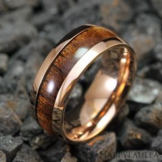 Stainless Steel Ring with Koa Wood Inlay 8mm width by HappyLaulea, $44.00
