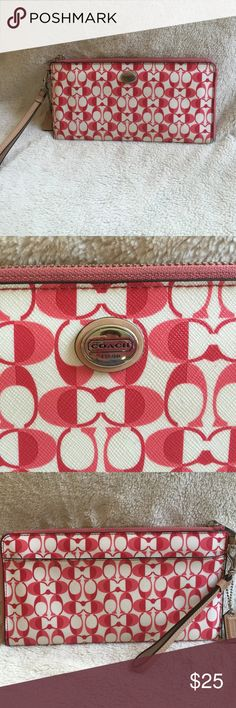 Large Coach Wristlet Red/pink Coach wristlet. Great condition. A lot of pockets and credit card slots. Large wristlet. Large outside pocket. Coach Bags Clutches & Wristlets