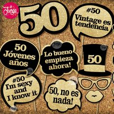 Photo Booth 50 Años Imprimible Cumple Props Glitter
