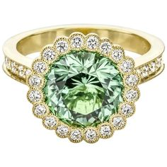 One of a Kind Green Tourmaline and Diamond Ring | 1stdibs.com