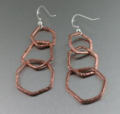 Three Tiered Hammered Copper Dangle Link Earrings  by johnsbrana, $22.00