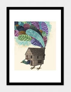 "Fancy - ""The Birdhouse"" - Numbered Art Print by Laura Graves from Curioos"