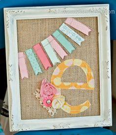 Adorable framed burlap initial!