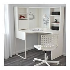 IKEA - MICKE, Corner workstation, white, , You can keep your desk clear of paper by writing your notes on the magnetic writing board on the back panel or fastening your to-do lists there with a magnet.You can adjust the shelves to fit different things, and adjust them again whenever you need to. Adjustable shelves help you use your space more efficiently.It's easy to keep cords and cables out of sight but close at hand with the cable outlet at the back.You can mount the legs to the right or…