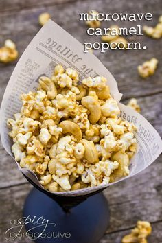 Easy Microwave Caramel Corn Recipe ~ Makes great Edible Gifts! | ASpicyPerspective.com #christmas #ediblegifts #caramelcorn