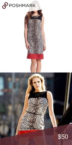 """WHBM Leopard Print Dress Great condition. Sleeveless shift rendered in silky twill with a hand designed animal print and solid blocks of color. 100% Polyester. Dry clean. Imported. Classic fit tailored with darts at bust and back. Scoop neck embellished with topstitching. Keyhole back closes with a button. Hidden side zip with hook-and-eye closure. Fully lined. Length: 36"""". White House Black Market Dresses"""