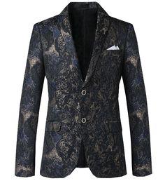 Stylish grey/navy blue grunge floral blazer is creative and super modern!