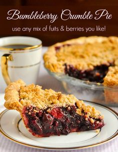 Bumbleberry Crumble Pie is a mix of leftover frozen fruits and berries leftover from other baking projects and smoothie making turned into a scrumptious pie.
