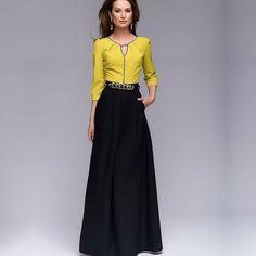 moda feminina evangelica executiva amarelo preto europeia vestido longo inverno 2017 verao 2016