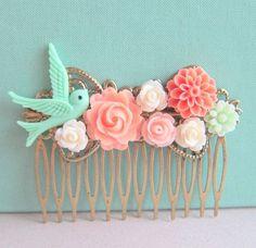 Jewelsalem - Coral Mint Green Wedding Hair Comb Bridesmaid Gift Peach Pink Mint Bridal Head Piece Floral Flower Bird Pastel Colors Soft Romantic
