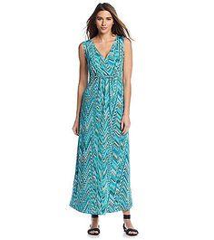 Notations® Abstract Print Twist Front Maxi Dress   Bon-Ton