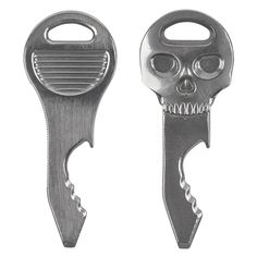The size and shape of a house key, the clever, lightweight DoohicKey QuicKey and SkullKey Tools have the all of the functionality of a basic multi-tool, and none of the bulk. In short, they do everything but open a door.