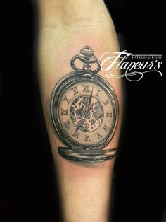 3D pocket watch tattoo by Flaneur's tattoo