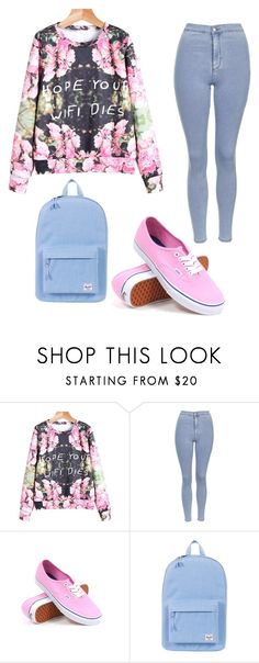 """""""Untitled #3"""" by manarabed ❤ liked on Polyvore featuring Topshop, Vans and Herschel Supply Co."""