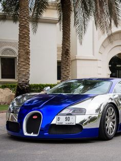 Bugatti Veyron Grand Sport parks in front of the car owners 34 bedroom mansion in the exotic tropics.