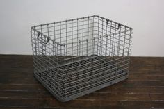 Vintage industrial galvanized large metal crate  - Lovely and Company
