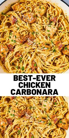 Best-Ever Chicken Carbonara Looking for an easy pasta dinner? This Chicken Carbonara recipe from Del Chicken Carbonara Recipe, Carbonara Recept, Sauce Gnocchi, Cooking Recipes, Healthy Recipes, Easy Chicken Recipes, Pasta Recipes, Pasta Dishes, Gastronomia