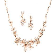 Rose Gold Floral Vine CZ Wedding Jewelry Set - Affordable Elegance Bridal -