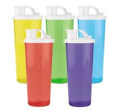 #Tupperware set of 5-16 oz Tumblers in 5 beautiful colors for only $16.00