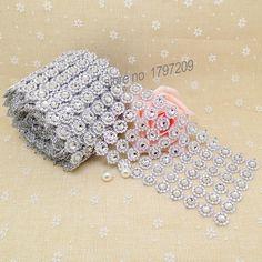 "3.75""x5Yards Silver Flower Diamond Mesh wedding centerpieces vintage wedding…"