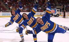 "Hansen Brothers from hockey cult movie, "" Slapshot"" Hanson Brothers, Slap Shot, Cult Movies, Films, Boston Bruins Hockey, Goalie Mask, People In Need, Hockey Players, Ice Hockey"