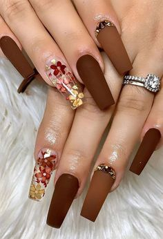 Acrylic Nails Coffin Pink, Clear Acrylic Nails, Almond Acrylic Nails, Coffin Nails, Fall Nail Designs, Acrylic Nail Designs, Brown Nails, Fall Nails, Winter Nails