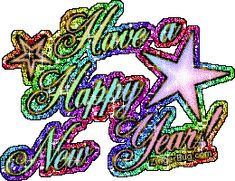 Have a Happy New Year Rainbow Glitter Glitter Graphic, Greeting, Comment, Meme or GIF