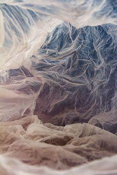 Plastic Bag Landscapes made with recycled plastics, lights & coloured backgrounds // Vilde Rolfsen #art