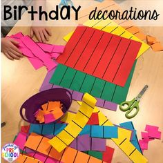 Make birthday decorations for a Birthday Party dramatic play. Perfect for a preschool & pre-k classroom. #dramaticplay #preschool #pre-k #birthdaytheme Preschool Birthday, Birthday Activities, Preschool Songs, Adult Birthday Party, Preschool Ideas, Birthday Wishes For Teacher, Class Birthdays, Dramatic Play Centers, Play Centre