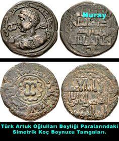 Türk Artukoğulları Devletine ait Para. Üzerinde Türklerin Orta Asyadan Getirdikleri Simetrik Koç Boynuzu Tamgası.