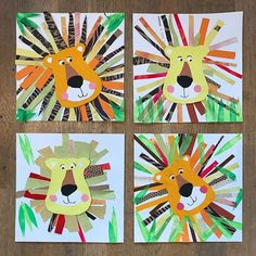 Lion collages 🦁 created by students of the fantastic creatures art camp! @canvasstudioart hosts 1 weeks camps throughout the summer with…
