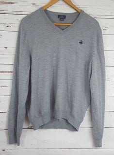Brooks Brothers 346 Mens Extra Fine Merino Wool Sweater Size XL Gray V-Neck    deda6b017f903
