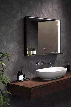 Bathroom Mirror With Shelf, Simple Bathroom, Bathroom Mirrors, Mirror With Led Lights, Led Mirror, Dark Bathrooms, Amazing Bathrooms, Bathroom Lighting Inspiration, Illuminated Mirrors