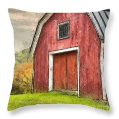 Red Throw Pillow featuring the photograph New England Red Barn Pencil by Edward Fielding