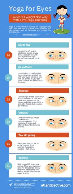 Get Powerful EYES with Simple Yoga Exercises http://atlanticactive.com/yoga-eyes. Improve your eyesight naturally with 6 simple-to-do Eye Yoga exercises. Dump your glasses, avoid the laser and recover your natural eyesight. These proven techniques draw from the principles of yoga to relax and retrain the visual system, and help us see the world with less strain, greater acuity, and a more spacious visual field.