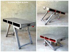 This coffee table made with recycled pallet wood becomes high in 2 steps. This table can be turned into a …