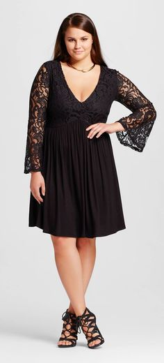 Pretty!  Plus Size Lace Sleeve Babydoll Dress