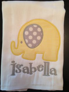 Baby Elephant Applique Burp Cloth  Yellow by forthischilddesigns, $12.00