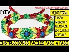 ▶ COMO HACER UNA PULSERA FRIENDSHIP MULTICOLOR DE CRUCES Y ROMBOS DE NUDOS DE MACRAME TUTORIAL DIY - YouTube