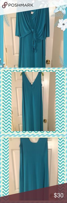 Gorgeous turquoise maxi with cropped jacket Lovely turquoise maxi with loads of stretch. Cropped jacket ties in front and can be worn with or without the jacket. Worn once, sleeveless, no rips, stains, snags, or tears. Perfect for Spring and Summer. Slight ruching at the bustline. Designed by Antthony Mark Hankins ( Antthony Originals) as shown. Antthony Dresses Maxi