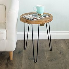 WELLAND Rustic Old Elm Wood Round End Table with Metal Stand *** Learn more by visiting the image link-affiliate link. Rustic Round Table, Wood End Tables, A Table, Wood Table, Console Table, Made Coffee Table, Coffee Tables, Muebles Living, Natural Wood Finish