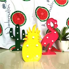 3D LED Shine Flamingo Lámpara Piña Cactus Noche Lámpara Marquesina LED Carta Luz de Noche para la Decoración Del Hogar Regalo de Cumpleaños para Los Niños