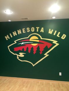Minnesota Wild Hockey Wall Mural, Sport Team Logo, Hand Painted By Artist Amy Sachse (Completed 10/2014, Woodbury, MN)