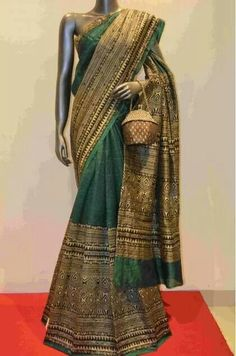 Tussar silk with bead work