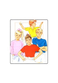 Sew Easy Childrens' Knit Top T-Shirts with Neckline Variations for Stretch Fabrics, U/C, Factory Folded, Sewing Pattern Multi Size Vintage Patterns, Sewing Patterns, Stretch Fabric, Knitting, Children, Large Format, T Shirt, Handmade, Fictional Characters