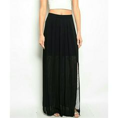 Sneaky Lace Maxi Sheer black maxi skirt with underneath lace detail, thigh slit & exposed metal zipper. Available in S,M,L  *30% bundle discount! *Price Firm Dresses