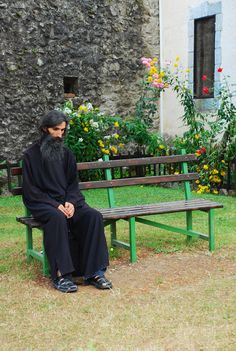 """Orthodox priest.   Shot from Mountain Monastery.   There was a clear rule """"No photos"""", but I couldn't resist. The first time i met a monk, whose eyes made me think """"I believe him"""". Very strange and deep eyes."""